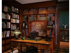 Classic desks for home office. Victorian Gothic interior style (fiction) Elliott's office at his Home/Law Office in Stillwater Springs. Learn more info on classy office furniture by clicking through. Law Office Decor, Home Office Design, House Design, Office Desk, Office Furniture, Office Designs, Library Design, Study Office, Victorian Interiors