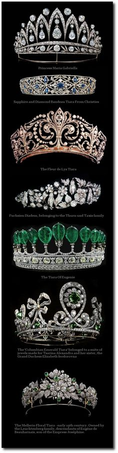 Crowns and Tiaras/karen cox. The emerald tiara (fourth from the top) did not belong to the Empress Eugenie. It was made for a German princess from stones that possibly belonged to the empress. Royal Crowns, Royal Tiaras, Tiaras And Crowns, Royal Crown Jewels, Royal Jewelry, Tiffany Jewelry, Antique Jewelry, Vintage Jewelry, Estilo Real