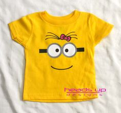Minion Onesie Baby Girl - Toddler Girl Minion with Bow Two Eyes Shirt - Minion tshirt Costume Kid - Minion Costume Adult - by HeadsUpandUp on Etsy https://www.etsy.com/listing/223209343/minion-onesie-baby-girl-toddler-girl