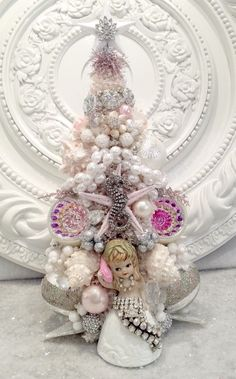 Vintage RHINESTONE tailed MerMaid Bottle Brush Tree * Ornaments sea Shells OMG! in Collectibles, Fantasy, Mythical & Magic, Mermaids | eBay