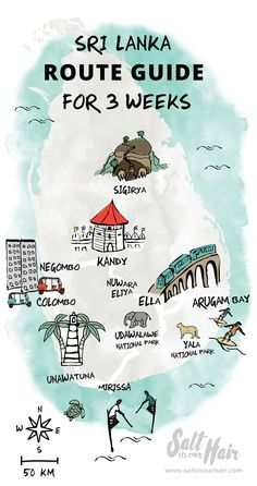 A Sri Lanka route guide. Visit the tea plantations, beaches, do the world-famous Kandy train ride, and fall in love with beautiful in Sri Lanka. Travel Maps, India Travel, Japan Travel, Travel Destinations, Travel List, Travel Guides, Sri Lanka Itinerary, Arugam Bay, Bon Plan Voyage