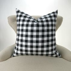 Black Plaid Pillow Cover MANY SIZES Check by DeliciousPillows