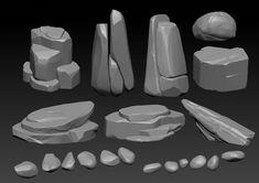 Stylized Rock Pack by Jonas Roscinas Digital Painting Tutorials, Digital Art Tutorial, Art Tutorials, Digital Paintings, Environment Concept Art, Environment Design, Prop Design, Game Design, Zbrush