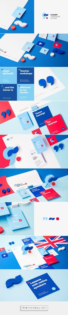 Cloud 9 Language Studio Branding and identity design Corporate Design, Brand Identity Design, Graphic Design Branding, Graphic Design Posters, Brochure Design, Graphic Design Inspiration, Corporate Identity, Design Corporativo, Logo Design