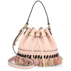 Milly Whipstitch Tassel Small Leather Drawstring Bag ($277) ❤ liked on Polyvore featuring bags, handbags, blush, satchels, pink satchel handbags, leather satchel handbags, leather handbags, drawstring bag and leather drawstring bag