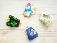 Kiss lock coin change purse mini tiny wallet pouch clip frame 4 options Sesame Street sailboat sailor flowers blue black white green gold by poppyshome on Etsy