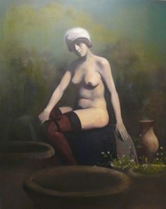 "Herman Levente:""1900"" - 2009 - olaj, vászon / oil on canvas - 100x80 cm"