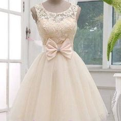 Princesses light champagne lace short prom dresses.cheap bridesmaid dresses cocktail party dress with bowknot