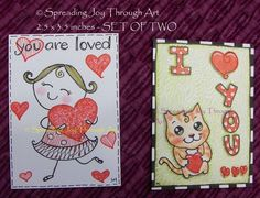 ACEO Original Art Lot of Two Joy Valentine Love Red Heart Girl Cat Tabby Kitty  #Miniature