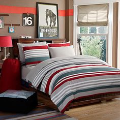 Give your bedroom a bold, sporty makeover with the Brant Point duvet cover by Nautica. It features a series of classic stripes in a rich garnet red with piecing details in navy and yellow for a full depth of color. Duvet cover reverses to a solid navy. Striped Bedding, Red Bedding, Luxury Bedding, Nautical Bedroom, Bedroom Decor, Bedroom Ideas, Teen Bedroom, Gold Bed, College Bedding