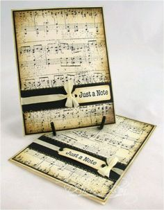 Music card. Could make these with download music or repurpose old music sheets by dipping in tea stain to age them.