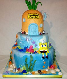 Exclusive Cakes by Tessa Spongebob Square Pants birthday cake with Spongebob's Pineapple house!!  All edible!!