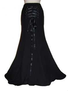 GOTHIC BLACK SKIRT, LONG BLACK GOTHIC SKIRT, STEAMPUNK SKIRT.   BEAUTIFUL VICTORIAN GOTHIC FULL LENGTH FISHTAIL SKIRT HAND MADE IN YORKSHIRE BY FEMME GOTHIQUE  SIZES 8 - 32 AVAILABLE PLEASE SEE BELOW FOR MEASUREMENTS  please specify the size and length you require upon payment  The skirt can be made to your own custom length at no extra cost, please specify the length you require. If no custom length is specified the skirt will be made at 45 inches length.   This stunning full length skirt…