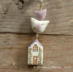 Handmade ceramic house in pink by blueberribeads on Etsy