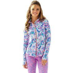Lilly Pulitzer Luxletic Serena Jacket ($138) ❤ liked on Polyvore featuring outerwear, jackets, multi la playa, fitted jacket, lilly pulitzer and lilly pulitzer jacket