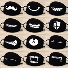 Cotton Dust Mask Cartoon Expression Teeth Muffle EXO-K Chanyeol Face Respirator Anti Kpop Bear Mouth Mask Name: dust mask Fabric: high quality cotton Season: Four Seasons Colour: Black Chanyeol, Camouflage, Mouth Mask Design, Cartoon Expression, Mouth Mask Fashion, Fashion Mask, Anti Fashion, Diy Mask, Sewing Patterns Free