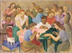Seamstresses(1950) - Oil on Canvas - Tarsila do Amaral.