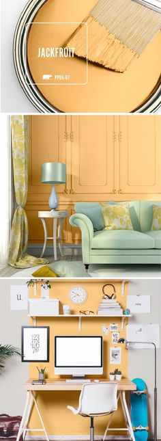 52 Ideas Bath Room Paint Yellow Accent Walls For 2019 Yellow Paint Colors, Office Paint Colors, Bathroom Paint Colors, Paint Colors For Living Room, Paint Colors For Home, Bedroom Colors, Living Room Decor, Color Yellow, Yellow Accent Walls