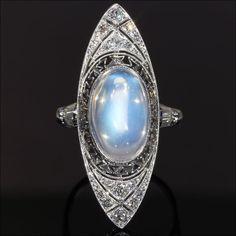 Antique Art Deco Moonstone and Diamond Ring, c. 1915 18k Gold