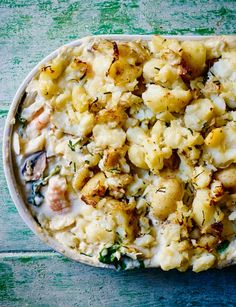Florentine fish pie with smashed potato and chives - Sainsbury& Magazine Prawn Recipes, Fish Recipes, Seafood Recipes, Dinner Recipes, One Pot Dishes, Fish Dishes, Fish And Meat, Fish And Seafood, Top Recipes