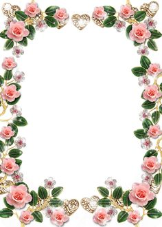Delicate Floral Jewelries And Pink Roses Picture Frame - Rose Border Design Flower , Transparent Cartoon - Jing. Frame Floral, Flower Frame Png, Frame Border Design, Page Borders Design, Flower Border Clipart, Flower Borders, Pink Rose Pictures, Wedding Borders, Boarders And Frames