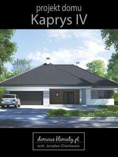 """Projekt średniej wielkości domu parterowego z dwustanowiskowym garażem """"Kaprys IV"""". Dom posiada cztery pokoje sypialne oraz wiele udogodnień - dwie łazienki, garderobę, spiżarnię i pralnię, a także dużo miejsca na szafy. Przyjemnie i funkcjonalnie prezentuje się strefa dzienna. Duży salon posiada wyodrębnione wykuszem miejsce na jadalnię. Z zewnątrz budynek przyciąga oko nowoczesnym i reprezentacyjnym wyglądem. Od strony głównego wejścia i ogrodu znajdują się zadaszone tarasy."""