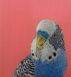 Royal School of Needlework – Kate Barlow's Budgerigar Royal School of Needlework – Kate Barlows Wellensittich Embroidered Bird, Bird Embroidery, Japanese Embroidery, Silk Ribbon Embroidery, Embroidery Stitches, Embroidery Patterns, Machine Embroidery, Contemporary Embroidery, Modern Embroidery