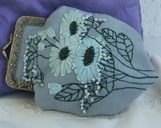 Your place to buy and sell all things handmade Embroidery Purse, Silk Ribbon Embroidery, Daisy Flowers, Linen Bag, Handicraft, Coin Purse, Pouch, Purses, Floral