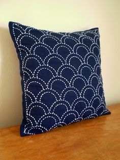 Sashiko embroidered pillow @Craftsy