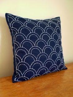 sashiko embroidered pillow
