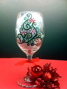 holiday hand painted wine glasses | Hand Painted Wine Glasses Christmas Tree by LadyWithTheCuteGlass