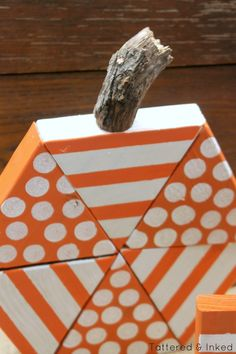 Tattered and Inked: DIY Triangle Block Wooden Pumpkins