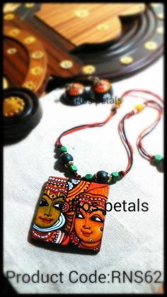 Kerala mural style kathakali painting on terracotta jewellery