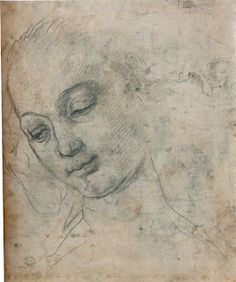 Andrea del Verrocchio, 'Head of a Woman.'  (recto & verso ), c. 1475,  charcoal , heightened with lead white, pen and brown ink.  324 x 273 mm., British Museum.