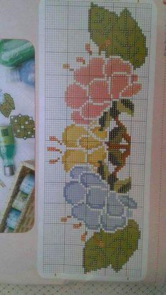 Sevilay💕 Cross Stitch Bookmarks, Cross Stitch Borders, Cross Stitch Flowers, Cross Stitch Designs, Cross Stitching, Cross Stitch Embroidery, Hand Embroidery, Cross Stitch Patterns, Crochet Bedspread Pattern