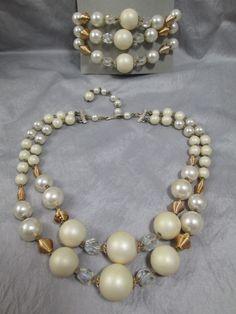Vintage bead necklace white pearl crystals gold wire spirals bracelet set Japan #Unbranded #StrandString