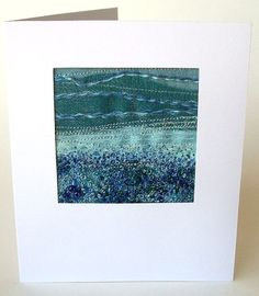 Blue beaded embroidered landscape fabric art card by StitchMikki, $5.00
