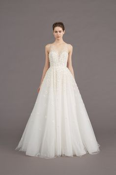 """""""Callie"""" Ball Gown Wedding Dress: Floral, Hand Embroidered"""