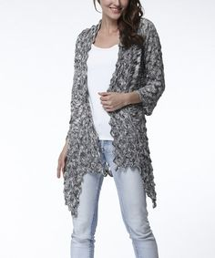Look what I found on #zulily! Gray Crochet Open Cardigan - Women by Simply Couture #zulilyfinds