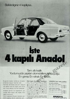 1974 Anadol ~ Turkey If you are expecting 4 doors . Here are 4 doors .İşte 4 kapılı Ana… 1974 Anadol ~ Turkey 🇹🇷 If you are expecting 4 doors . Here is 4 doors Anadol 1974 - Old Poster, Poster Poster, Family Car Decals, Sports Car Wallpaper, Car Brochure, Good Old Times, Car Posters, Car Advertising, Cute Cars