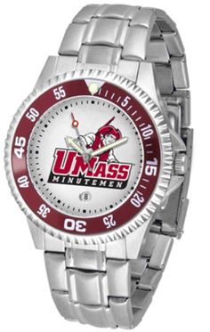 Massachusetts Minutemen Competitor Watch with a Metal Band: The Massachusetts Minutemen logo with a date… #Sport #Football #Rugby #IceHockey