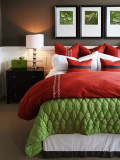 Cute holiday bedding; it'd be fun to change this once in awhile; need more storage space, though!