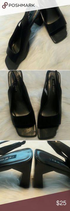 """NINE WEST black sling back ladies shoe. NINE WEST sling back black leather shoe. 2.5"""" heel. GREAT condition. Nine West Shoes Heels"""