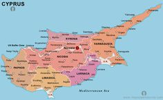 Cyprus Map Greek Cyprus IslandE Mediterranean Sea Pinterest