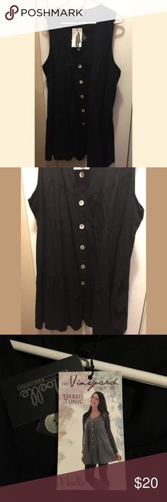 Tiered Tunic Dress Black tiered tunic dress, buttons down the front. NWT Sleeveless, hits the knee. Great for all seasons. Can wear alone for warm weather or wear layered in winter for trendy look!One size fits most, but I would say fits Medium thru Extra Large best!! Noelle Dresses Midi
