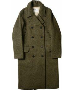 grunge army green dress coat | MARGARET HOWELL - MHL PEA COAT - OUTERWEAR - WOMEN