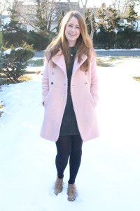 Pink coat and leather dress