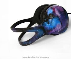 Space Galaxy Nebula large headphones earphones hand painted blue purple.