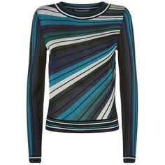 Diane von Furstenberg Joletta Stripe Jumper ($340) ❤ liked on Polyvore featuring tops, sweaters, stripe sweaters, knit jumper sweater, diane von furstenberg, jumpers sweaters and striped top