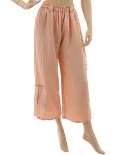 Lagenlook 7/8 linen pants with pockets, wide legs - in powder - Artikeldetailansicht - CLASSYDRESS Lagenlook Art to Wear Women's Clothing